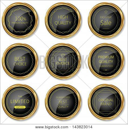 Premium Quality Gold And Black Badge Collection.eps