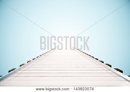 Wooden pier on bright blue background with abstract sunlight. 3D Rendering