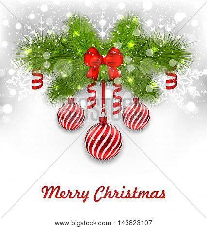 Illustration Christmas Glowing Greeting Background with Fir Branches, Glass Balls, Ribbon Bows, Streamer - Vector