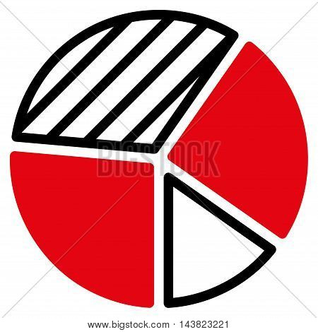 Pie Chart icon. Vector style is bicolor flat iconic symbol with rounded angles, intensive red and black colors, white background.