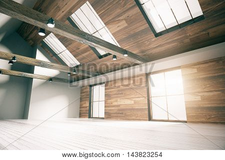 Side view of loft interior design with wooden walls floor ceiling and windows. Country style. 3D Rendering
