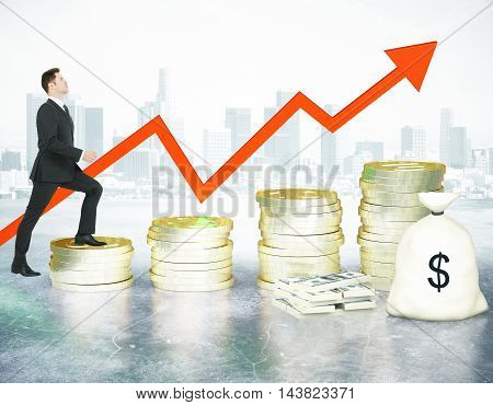 Financial growth concept with businessman climbing abstract golden coin ladder with upward arrow cash stack and bag on city background