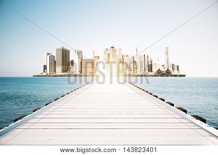 Wooden sea pier on sky clear sky and city background with sunlight. Mock up 3D Rendering