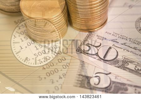 pile coin money with account book finance and banking concept for background.