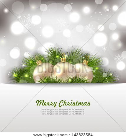Illustration Merry Christmas Card with Fir Twigs and Golden Balls - Vector