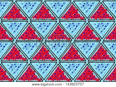 Inked Triangles With Red And Blue
