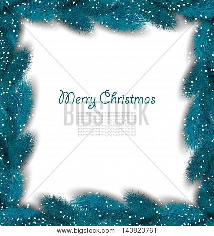 Illustration Christmas Border Made in Lush Fir Branches - Vector