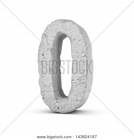 3D rendering concrete number 0 isolated on white background. Figures and symbols. Cracked surface. Textured materials. Cement object.