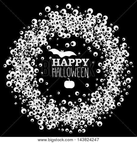Happy Halloween black banner with wreath of apple of the eye bat and pumpkin. Vector leaflet.