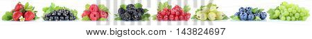 Berries Strawberries Collection Grapes Blueberries Red Currant Berry Fruits In A Row Isolated On Whi