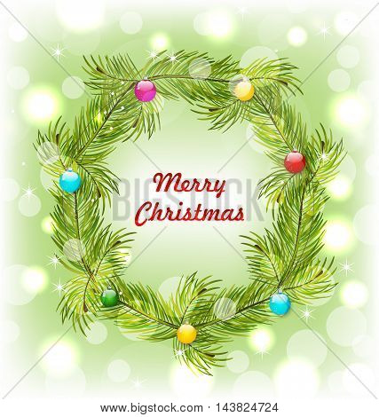 Illustration Christmas Wreath with Colorful Balls, Glitter Background - Vector