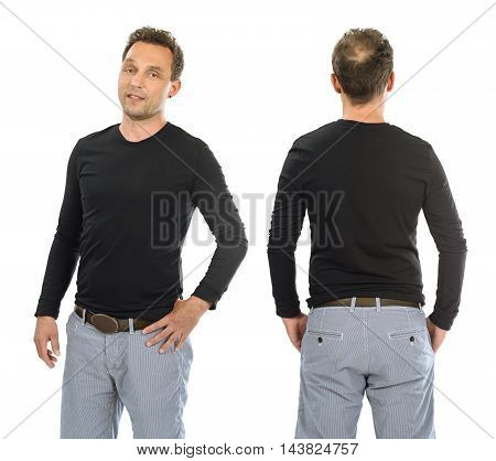 Photo of a man posing with a blank black long sleeve shirt ready for your artwork or design.