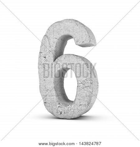 3D rendering concrete number 6 isolated on white background. Figures and symbols. Cracked surface. Textured materials. Cement object.