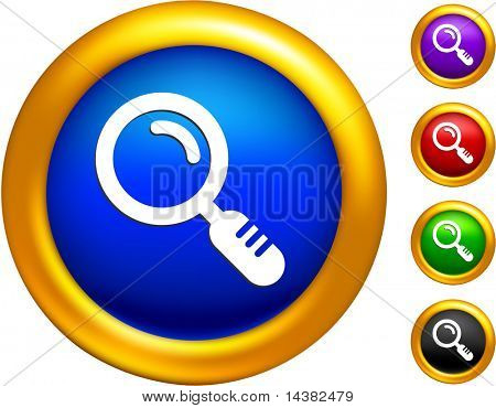 magnifying glass icon on buttons with golden