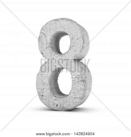 3D rendering concrete number 8 isolated on white background. Figures and symbols. Cracked surface. Textured materials. Cement object.