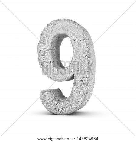3D rendering concrete number 9 isolated on white background. Figures and symbols. Cracked surface. Textured materials. Cement object.