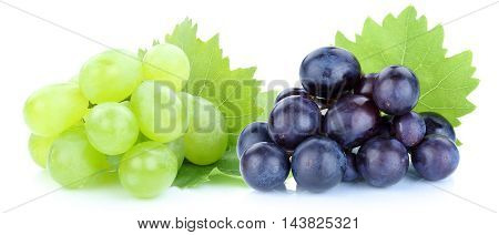 Grapes Blue Green Fruits Isolated On White
