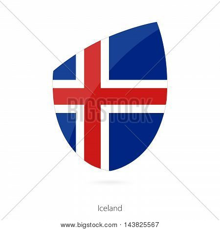 Flag of Iceland in the style of Rugby icon. Vector Illustration.