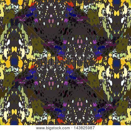 Mosaic Waves With Orange Green Purple