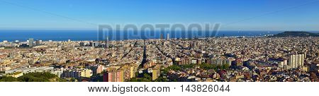 an aerial view of Barcelona, Spain, seen from the Turo de la Rovira hill