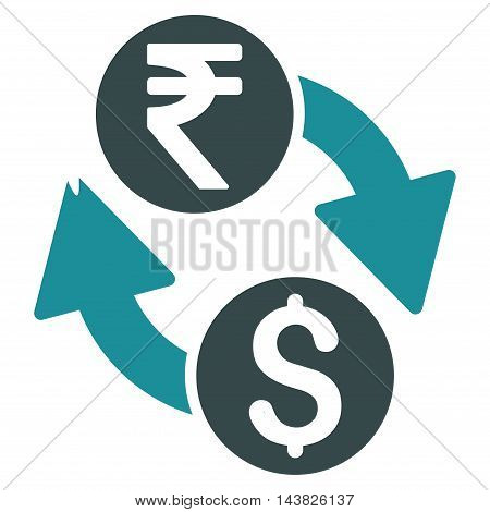 Dollar Rupee Exchange icon. Vector style is bicolor flat iconic symbol with rounded angles, soft blue colors, white background.