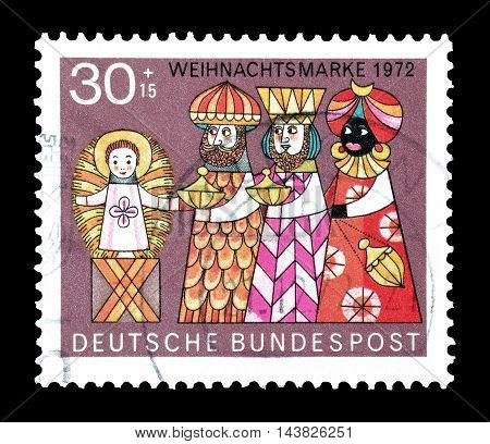 GERMANY - CIRCA 1972 : Cancelled postage stamp printed by Germany, that shows Three wise man and a baby.
