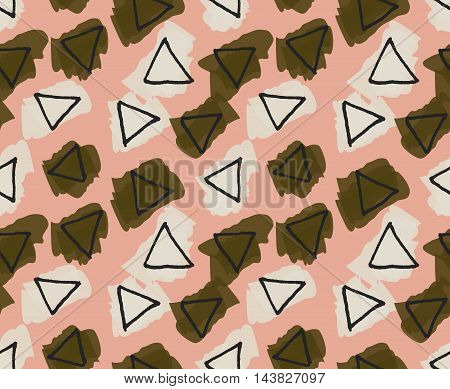 Rough Triangles Colored With Green And Yellow Smudges