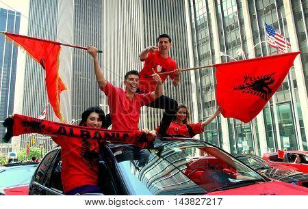 New York City - June 27 2009: Happy Albanians at the International Immigrants Foundation Parade on Sixth Avenue