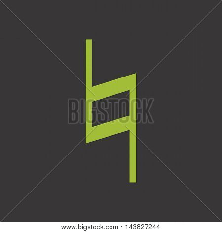 Green musical symbol natural in flat style