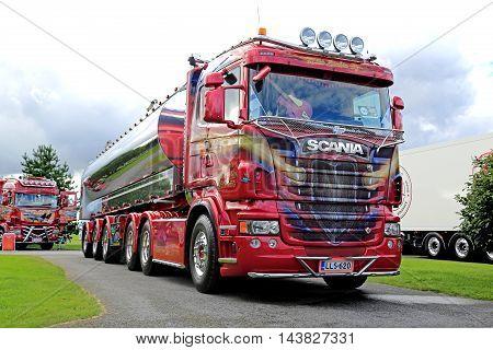 ALAHARMA, FINLAND - AUGUST 12, 2016: Scania semi R500 year 2012 ZZ Top of Kuljetusliike Mika Laakso Oyfor bulk transport on display on Power Truck Show 2016 in Alaharma Finland.