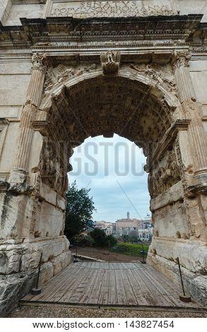 Rome City View Through Triumphal Arch.