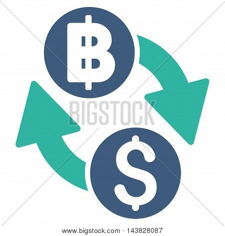 Dollar Baht Exchange icon. Vector style is bicolor flat iconic symbol with rounded angles, cobalt and cyan colors, white background.