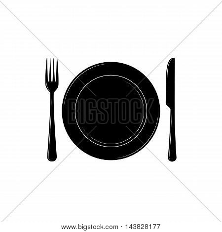 Plate with knife and fork vector icon