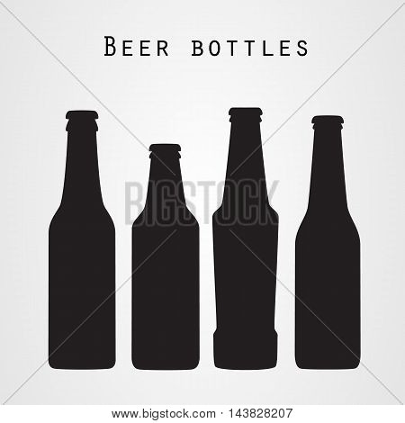 Set of four beer bottles in flat style