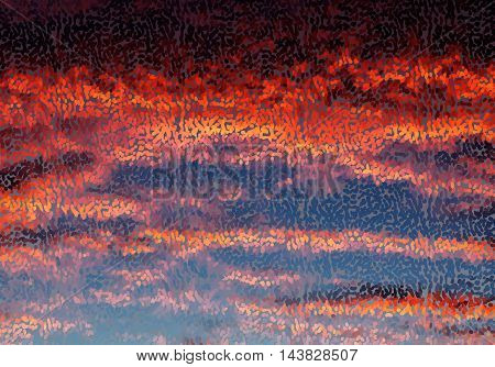 Abstract Mosaic Sunset Sky