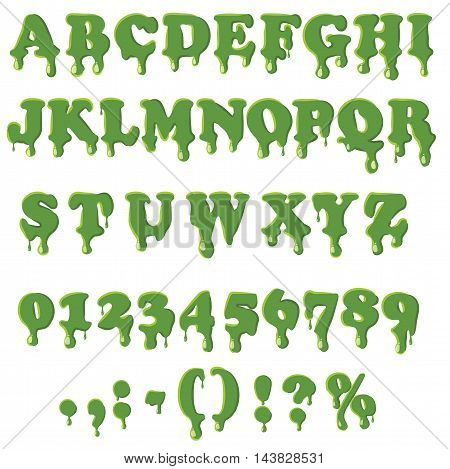 Slime alphabet with numbers isolated on white background. English font in slime texture set collection vector illustration