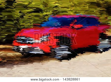 Abstract Oil Painted Red Car