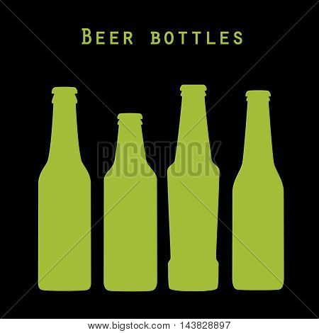 Set of four green beer bottles in flat style