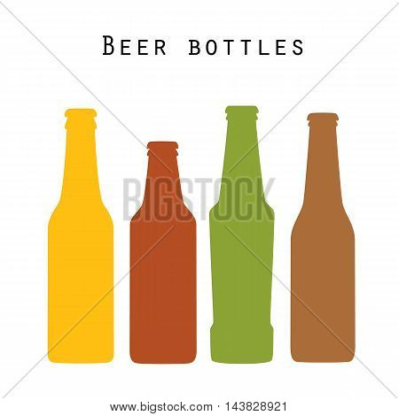 Set of four colored beer bottles in flat style