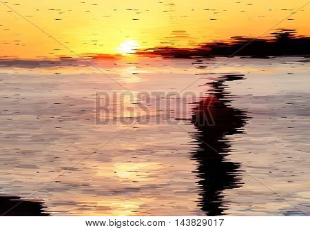 Abstract Sunset With Fisherman