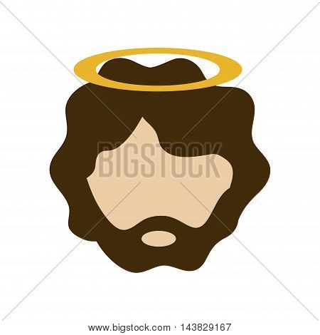 joseph holy family merry christmas icon. Flat and isolated design. Vector illustration