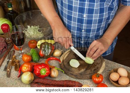 Slicing onions and tomatoes. Preparing diet meals. Chef slicing vegetables for a salad.