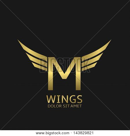 Wings M letter logo. Golden creative alphabet, air emblem