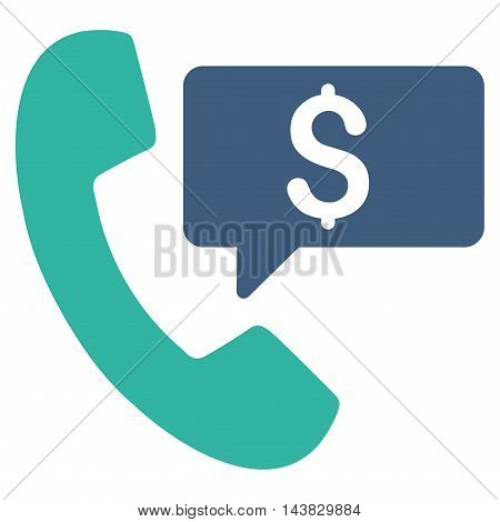 Phone Order icon. Vector style is bicolor flat iconic symbol with rounded angles, cobalt and cyan colors, white background.