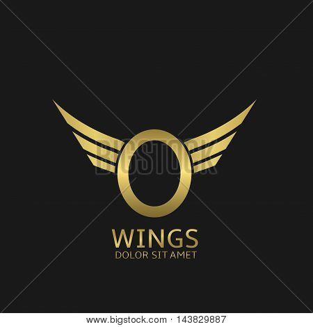 Wings O letter logo. Golden creative alphabet, air emblem