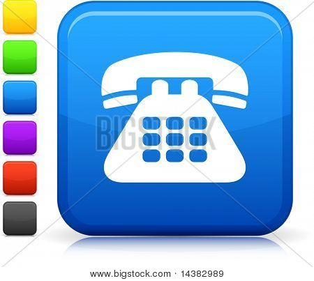 Telephone icon on square internet button  Six color options included.