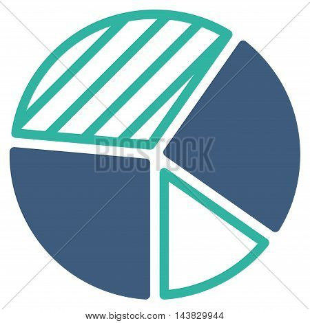 Pie Chart icon. Vector style is bicolor flat iconic symbol with rounded angles, cobalt and cyan colors, white background.