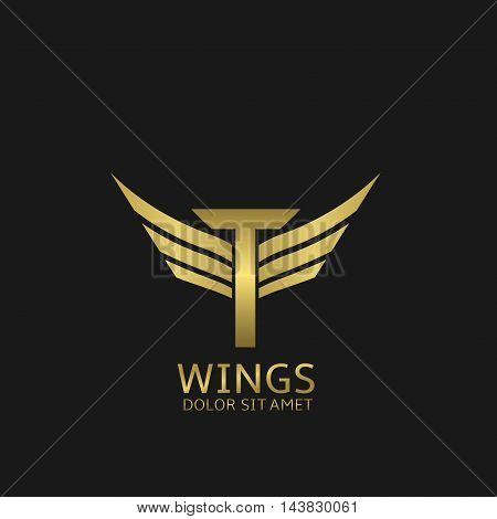 Wings T letter logo. Golden creative alphabet, air emblem