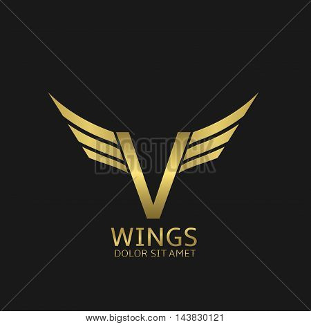 Wings V letter logo. Golden creative alphabet, air emblem