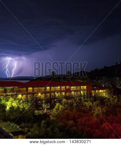 Lightning strike during night thunderstorm Chalkidiki. Greece